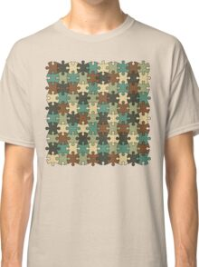 Jigsaw Puzzle Pattern in Nature Color Palette Classic T-Shirt