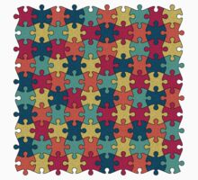 Jigsaw Puzzle Pattern in Festive Color Palette Kids Tee