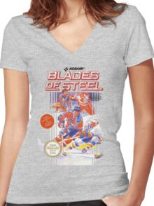 Blades of Steel Women's Fitted V-Neck T-Shirt