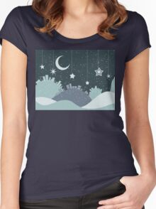 Night Winter City Women's Fitted Scoop T-Shirt