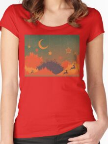 Night Winter City 2 Women's Fitted Scoop T-Shirt