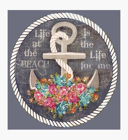 Nautical Anchor & Roses Beach Life   Photographic Print