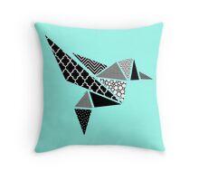 Geo Hummingbird in Mono  Throw Pillow