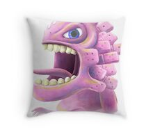 Funny monster lizard dragon rose Throw Pillow