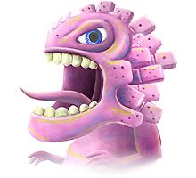 Funny monster lizard dragon rose Photographic Print