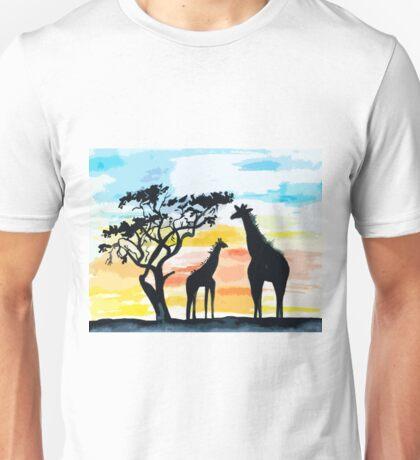 Giraffe Sunset Unisex T-Shirt