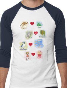 Aussie Friends love food - Girl Men's Baseball ¾ T-Shirt