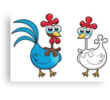chicken animal farm and kid Canvas Print