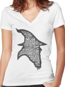 gandalf silhouette Black/White version Women's Fitted V-Neck T-Shirt