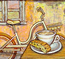 Cream Electra Town bicycle with cappuccino and biscotti by markhowardjones