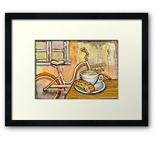 Cream Electra Town bicycle with cappuccino and biscotti Framed Print