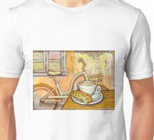 Cream Electra Town bicycle with cappuccino and biscotti Unisex T-Shirt