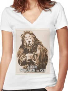 Wizard of Oz Lion Women's Fitted V-Neck T-Shirt