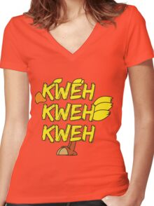 Chocobo (Final Fantasy) - Kweh! Women's Fitted V-Neck T-Shirt