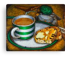 Still life with green touring bike Canvas Print