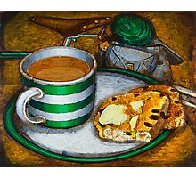 Still life with green touring bike Photographic Print