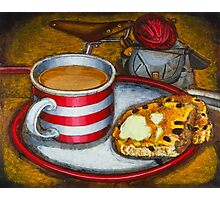 Still life with red touring bike Photographic Print