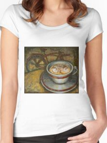 Still life with red cruiser bike Women's Fitted Scoop T-Shirt