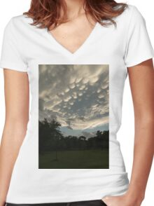 Summer Storm Aftermath - Extraordinary Mammatus Clouds Women's Fitted V-Neck T-Shirt