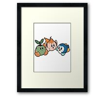 Kirby Pokémon Starters Framed Print