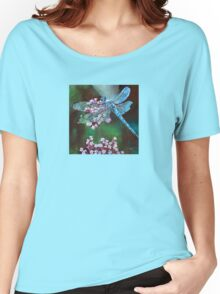 Blue Dragonfly Resting On Wild Garlic Women's Relaxed Fit T-Shirt