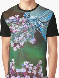Blue Dragonfly Resting On Wild Garlic Graphic T-Shirt