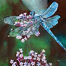 Blue Dragonfly Resting On Wild Garlic by taiche
