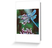 Blue Dragonfly Resting On Wild Garlic Greeting Card