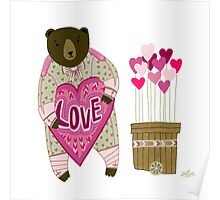 Bear with loveheart Poster