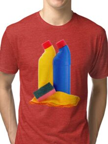 Cleaning Products Bottles Sponge and Duster Tri-blend T-Shirt