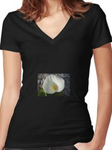 Overhead View of A White Calla Lily Against Pebbles Women's Fitted V-Neck T-Shirt