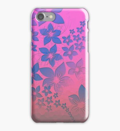 Abstract neon pink purple blue floral pattern  iPhone Case/Skin