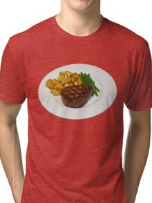 Fillet Steak with Beans and Potatoes on a White Plate Tri-blend T-Shirt