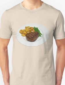 Fillet Steak with Beans and Potatoes on a White Plate T-Shirt