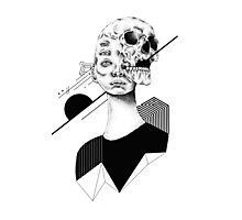 Skull and Woman 01 Photographic Print