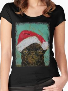 Santa Pug Women's Fitted Scoop T-Shirt