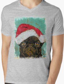 Santa Pug Mens V-Neck T-Shirt