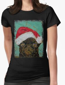Santa Pug Womens Fitted T-Shirt