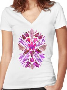 Tropical Symmetry – Magenta Women's Fitted V-Neck T-Shirt