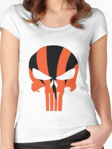Cincinnati Bengals Punisher Skull Women's Fitted Scoop T-Shirt