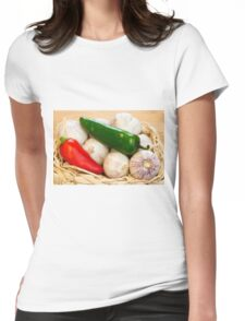 Garlic and Chilli Basket Close-up Womens Fitted T-Shirt