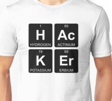 H Ac K Er - Hacker - Periodic Table - Chemistry - Chest Unisex T-Shirt