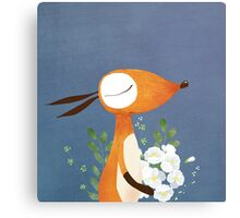 Fox and White Rose Canvas Print