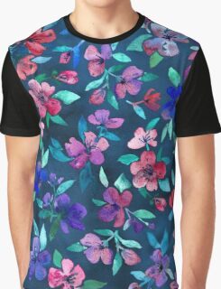 Southern Summer Floral - navy + colors Graphic T-Shirt
