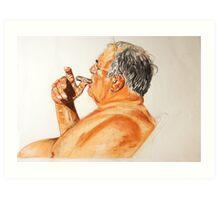 portrait mixed media of Sal Art Print