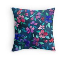 Southern Summer Floral - navy + colors Throw Pillow