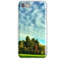 Blue sky, clouds, trees and green grass iPhone Case/Skin