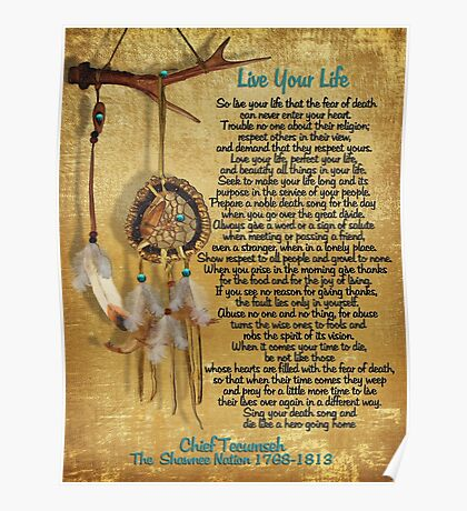 """""""Live Your Life"""",Chief Tecumseh watercolor effect Poster"""