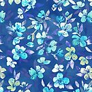 Grown Up Betty - blue watercolor floral by micklyn