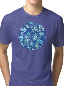 Grown Up Betty - blue watercolor floral Tri-blend T-Shirt